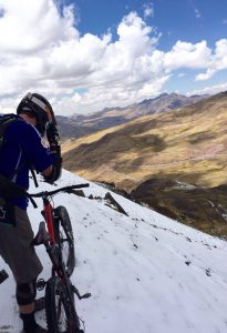 About the hit some snow scree gravity peru bike team