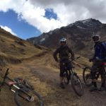 Bike Inca trail in cusco peru, two bikers on bikes in peru