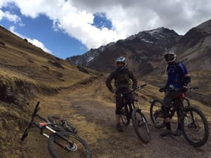 Bike Inca trail in cusco peru, two bikers on bikes in peru